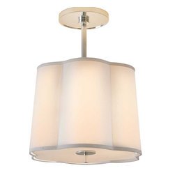 """Small Simple Scallop Pendant - By Barbara Barry. Dimensions: 16 1/2'' - 21 1/2""""H x 15 3/4""""W. Canopy: 7"""" Round . Shade Size: 14"""" x 15 3/4"""" x 11 1/2"""" with Silk Diffuser. Wattage: 3 - 60 Watt Type B. Socket: Candelabra."""