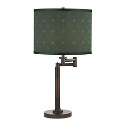 Design Classics Lighting - Modern Swing Arm Lamp with Green Shade in Bronze Finish - 1902-1-604 SH9479 - Contemporary / modern remington bronze 1-light table lamp. Swing arm has a maximum 9-inch extension. Takes (1) 100-watt incandescent three-way bulb(s). Bulb(s) sold separately. UL listed. Dry location rated.