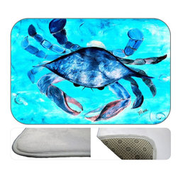 Blue Crab Plush Bath Mat, 20X15 - Bath mats from my original art and designs. Super soft plush fabric with a non skid backing. Eco friendly water base dyes that will not fade or alter the texture of the fabric. Washable 100 % polyester and mold resistant. Great for the bath room or anywhere in the home. At 1/2 inch thick our mats are softer and more plush than the typical comfort mats.Your toes will love you.