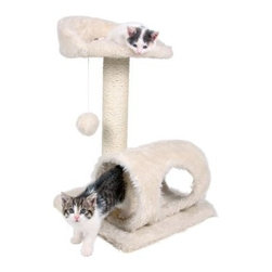 TRIXIE Sarria Kitten Tree - The TRIXIE Sarria Kitten Tree will provide endless opportunities for kittens or small breed cats to play, explore, scratch or just relax. Teach your little hunter healthy scratching habits with the sisal wrapped scratching post. For a nap or a cozy retreat, the cat can cuddle up inside the cozy ultra-plush tunnel with peek-a-boo hole. Spunky cats can jump, climb or perch atop the ultra-plush platform with supportive backrest and lie in wait for unsuspecting prey to pass by or simply enjoy the view. We've also included a dangling plush toy and rope for added fun. About Trixie Pet ProductsTrixie Pet Products is a German company that supplies items across the world for dogs, cats, small animals, fish, and reptiles. Trixie is committed to bringing consumers innovative products with the latest technology. They know what it takes to be a loyal animal lover, so each product from Trixie is designed specifically with the animal's best interests in mind.