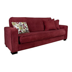PORTFOLIO - Portfolio Alina Convert-a-Couch Red Wine Velvet Futon Sofa Sleeper - The Portfolio Alina Convert-a-Couch features a sofa sleeper with extra-wide squared arm design for additional comfort and a button tufted back cushion. The Alina futon sleeper sofa is covered in a a soft velvet like wine red fabric.