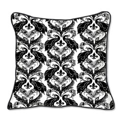 Casart Coverings - Peacock Damask Pillow Slipcover - Reversible, all-weather, washable pillow slipcover