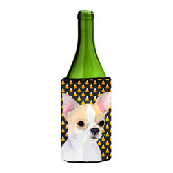 Caroline's Treasures - Chihuahua Candy Corn Halloween Portrait Wine Bottle Koozie Hugger SS4267LITERK - Chihuahua Candy Corn Halloween Portrait Wine Bottle Koozie Hugger SS4267LITERK Fits 750 ml. wine or other beverage bottles. Fits 24 oz. cans or pint bottles. Great collapsible koozie for large cans of beer, Energy Drinks or large Iced Tea beverages. Great to keep track of your beverage and add a bit of flair to a gathering. Wash the hugger in your washing machine. Design will not come off.