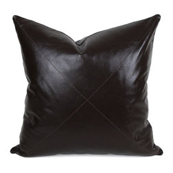 """Pfeifer Studio - Dark Chocolate Leather Pillow, 20""""x20"""" - Our rich dark chocolate leather pillow is created in Napa leather, a full-grain sheepskin hide, which is known for its softness and durability. The pillow has a matching leather back, medium-fill feather and down inner, and closes with a hidden zipper. Our pillows are each individually handmade-to-order using natural materials, each is considered unique and one-of-a-kind."""