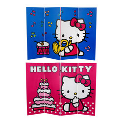 Oriental Furniture - 4 ft. Tall Double Sided Hello Kitty Birthday Cake Canvas Room Divider - Cute, colorful Hello Kitty birthday cake graphics as well as Hello Kitty bugle and drum, on a limited edition four foot tall folding screen. Practical, portable, low rise room divider or extra-large, reversible decorative wall art, with a pair of delightful Hello Kitty design classics.