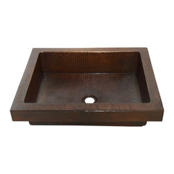"Artesano Copper Sinks - Rectangular Raised Profile Bathroom Copper Sink with Apron - Rectangular Raised Profile Bathroom Copper Sink with Apron 20 x 16 x 5,  apron is 2"", rim is 1.5"", drain is 1.5"", gauge 16, inside is 17 x 13 x 4.5"". The sink will sit 2"" high from the countertop"