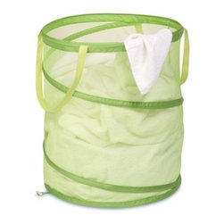 Large Mesh Pop Open Hamper, Lime Green - Honey-Can-Do HMP-02823 Breathable Large Mesh Pop-up Hamper, Lime.  Want a hamper with a big pop? Now you've got it. This large red mesh hamper pops-up to open and easily compresses flat when not in use. Hook-style clasps keep the hamper compressed while in storage. The mesh material provides excellent ventilation allowing worn clothes to breathe and reducing unpleasant odors and mildew. Useful carrying handles make transporting clothes to the laundry room, Laundromat, or dry cleaner a breeze. Keep clothes off of the floor and your space neat and clean with this practical and fun hamper.