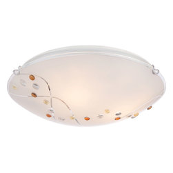 Quoizel - Quoizel PCSL1616C Platinum 3 Light Flush Mounts in Polished Chrome - Stellar, from the Quoizel Platinum Collection, is a beautifully designed floating flush mount. The amber, yellow and clear jewels on the shade bring life to the white painted glass and the intricate detail of the two clear swirling lines add a little twinkle to this stunning piece.