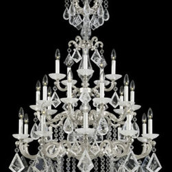 Schonbek - La Scala Antique Silver 25-Light Clear Rock Crystal Chandelier, 35W x 54.5H x 35 - -Rock Crystal: This raw crystal is a natural, mined, semi-precious stone and cannot be mass-produced. Rock crystal is a natural quartz prized by collectors since ancient times. Skilled gem cutters grind, cut and polish each rock crystal by hand.  - La Scala is a striking rococo design inspired by sixteenth-century chandeliers. Arms and scrolls are cast from Schonbek family molds.  -Clear Rock Crystal  - Wire Length (in inches): 210  - Light Source: Incandescent Bulb  - Bulbs not included  - Chain Length (in inches): 126  - Uses standard line volt dimmer  - Some assembly required  - For shipping outside of USA, please contact Bellacor customer service  - Cleaning and Care Instructions: Every Schonbek product is of heirloom quality and will last for generations. To ensure it retains its brilliance and splendor for years to come, proper care and regular cleaning are necessary. It is recommended that Schonbek products, and particularly their crystal trim, be lightly dusted with a feather or lambswool duster, or soft brush every two months, or whenever it appears dull or dusty. Consult the fixtures trim diagram for detailed cleaning instructions list of approved cleaning solutions. Schonbeck fixtures should never be subjected to any chemical cleaning agents. - See packaging insert for warranty information. Schonbek  - 5412-48