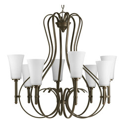 Progress Lighting - Progress Lighting P4469-20 8-Light Chandelier With Opal Etched Glass - Eight-light chandelier with slim opal white glass shades and flowing arms for a sassy appeal.