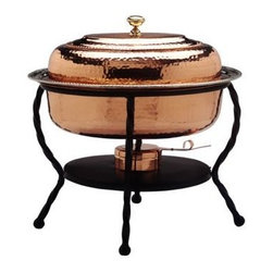 Old Dutch - 16.5 x 12.5 x 18 Oval Decor Copper Chafing Dish 6-Quart - 6-Quart Oval Decor Copper Chafing Dish. 6-Quart Stainless Steel food pan is oven safe to 350F, water-bath design keeps food at the perfect serving temperature without drying out. Chafing dish features brass knob and accented rim. Includes sturdy iron stand. Adjustable fuel holder takes standard gel fuel canisters (not included).