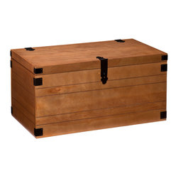 Upton Home - Upton Home Ridge Trunk Coffee/ Cocktail Table - This lightly industrial Upton Home trunk coffee/ cocktail table features ample storage space perfect for living room accessories. A warm autumn oak finish,grooved details,and brown accents enhance its lovely rustic appeal.