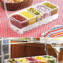 Chilled Condiment Caddy - Keep salad toppings and condiments cool with this ice-bottomed caddy.