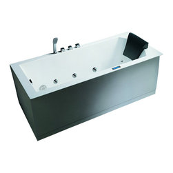 "Ariel - Ariel Platinum AM154 70"" R Whirlpool Bathtub 70x30x25 - Take a dip in this elegant whirlpool bathtub. Equipped with hydro-massage jets designed to target your pressure points for a relaxing experience. Dimensions:  70 x 30 x 25, ETL listed (US & Canada electrical safety) 220v, LCD touchscreen control panel   FM Radio for Easy Listening , 21 Whirlpool Massage Jets 6 Massage Modes/ 4 intensity optioins, 2 HP Pump, Handheld showerhead, Chromatherapy Lighting to Set the Mood, Ozone disinfecting cleaning system, Auto pipe cleaning, Heat Pump, Gallons: 72"