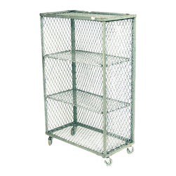 Vintage Industrial Steel Wire Rack on Casters - This fabulously graphic multi-purpose vintage galvanized steel industrial style rack is perfect for anything you need to store or display. It rolls smoothly and quietly on ball bearing skateboard wheels which are easily removable for a more permanent placement.