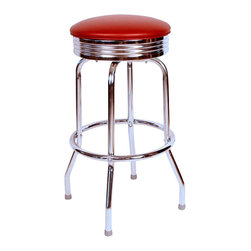 Richardson Seating - Richardson Seating Retro 1950s Chrome Swivel Bar Stool with Wine Seat-24 Inch - Richardson Seating - Bar Stools - 19715WIN24 - Richardson Seating Floridian's Floridian collection ships within 2 business days as quick ship items. The 50's retro look bar stool collection is back with added comfort and stylish design. The Floridian collection are commercial bar stools made in the USA, and equally ideal for residential use.