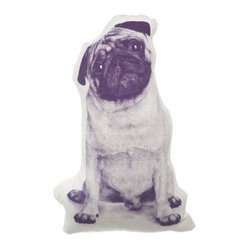 Areaware - MINI Pug Pillow - That touching head tilt that intelligent dogs are known for is perfectly immortalized in this adorable throw pillow. Celebrate your love for all things pug with this graphically printed, Victorian-inspired shaped pillow on your sofa or day bed.