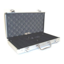 JP Commerce - Aluminum Poker Chip Case - New and latest executive-style aluminum case is made of high grade aluminum materials. Redesigned for a stronger reinforced frame structure. Built with heavy duty hinges. Most aluminum chip cases are made of cheaper quality hinges that can be break off easily. This durable case also has 2 built-in locks with 2 keys for security. Silver with black interior. Interior is made of fine quality black velvet material and insulated with a sponge lining for better protection of the chips. Case has 6 slot dividers that can hold 50 chips per slot for total of 300 chips. Space for 2 decks of standard size playing cards and 5 dice. Built-in ribbons allow for easy removal of the playing cards and dice. Durable case also has 2 built-in locks with 2 keys for security. Weight: 5 lbs.
