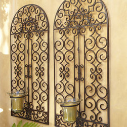 "Horchow - Outdoor Hurricane Wall Panel - Handcrafted, dramatically sized outdoor wall decor features a beautiful scrolling design and a glass hurricane that holds a 3"" pillar candle, adding a soft glow to the gorgeous decorative piece. Hand-painted antique-brown finish. Iron hurricane holder..."