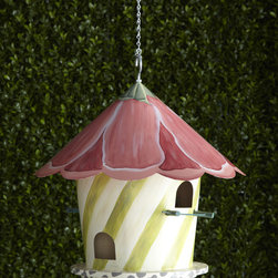 """MacKenzie-Childs - Hollyhock Birdhouse - MacKenzie-ChildsHollyhock BirdhouseDetailsThis hand-painted wooden birdhouse from MacKenzie-Childs is move-in ready with its charming petal-shaped tin roof and included hanging hook. Should be brought inside in the winter but otherwise is outdoor safe. 16.5""""Dia. x 16.5""""T. Each will vary slightly. Designer About MacKenzie-Childs:Established in 1983 MacKenzie-Childs is located on a 65-acre former dairy farm in Aurora New York. Alongside a small herd of Scottish Highland cattle hens and a duck pond artists create ceramic tableware furniture and home accents by hand using time-honored techniques. From enamelware and glassware to furniture and decorative accessories MacKenzie-Childs combines vibrant colors and patterns to create a collection that epitomizes """"tradition with a twist"""" that has earned a worldwide following of loyal fans who are drawn to the line's whimsical style and dedication to quality."""