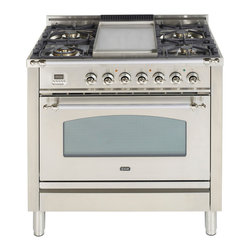 "ILVE Nostalgie Collection - ILVE Nostalgie 36"" Gas Range.  Pictured in Stainless Steel with Chrome Trim.  Also available in 7 other color and 2 trim options.  Equipped with  high BTU burners and included griddle top accessory.  Additional grate for 5th burner is available.  Multi-function convection oven with Infrared Broiler, digital clock and timer, full-size warming drawer and rotisserie."