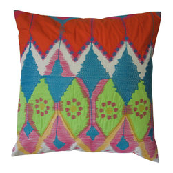 KOKO - Festive Pillow, Orange - This modern Moroccan print will have you plotting a North African adventure. The texture in the embroidery work paired with the vibrant colors make a happy combination. Add life to your living room with one of these cozy pillows.