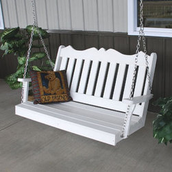 A & L Furniture - A & L Furniture Recycled Plastic 4 ft. Royal English Porch Swing - 865-WW WEATHE - Shop for Porch Swings from Hayneedle.com! Crafted from ultra durable poly material the A & L Furniture Poly 4 ft. Royal English Porch Swing will not only act as a beautiful accent piece on your porch or patio but it will not show signs of weather deterioration. This swing will not warp crack or rot and won't require any maintenance. The decorative scalloped design that tops evenly spaced vertical slats lends a warm and inviting tone welcoming guests as they arrive at your door. Choose from a variety of colors to best suit your home. About A and L Furniture:For fine-quality furniture you can't find much better than Amish-made pieces. Using hydraulic- and pneumatic-powered woodworking tools and wood hand-selected for each furniture piece Amish craftsmen pay great attention to each detail resulting in beautiful and timeless furniture. Amish woodworkers select each piece of wood for its grain and other individual characteristics and these characteristics are highlighted so that no two pieces of furniture are ever identical. Made in the heart of Pennsylvania by these dedicated workers each piece of A and L's furniture is sure to become a treasured heirloom for your family. Please note this product does not ship to Pennsylvania.