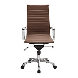 Hampton Modern - Modern Ribbed High Back Office Chair in Terra Cotta Leatherette - This classically designed high back desk chair offers a sleek look for any office setting. The ribbed leatherette seat provides just the right amount of give to sit comfortably for hours. Don't be fooled by the minimalist design though, this chair also sports a locking tilt function, adjustable height lever, and tilt tension knob. Chair is set on rolling casters. Metal arms are removable.