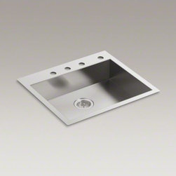 """KOHLER - KOHLER Vault(TM) 25"""" x 22"""" x 6-5/16"""" single bowl dual-mount kitchen sink with 4 - Designed for ergonomics and accessibility, this ADA-compliant Vault sink is handcrafted from durable stainless steel with bold, modern lines that bring contemporary style to your kitchen. Tightly angled corners maximize basin space, and the rear drain cre"""