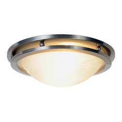 Premier - Two Light 14 inch Flush Mount 617602 - Brushed Nickel - This flush mount ceiling fixture blends well with any room's decor. It features a beautiful brushed nickel finish with alabaster glass.
