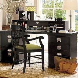 """Bedford Desktop Set, 1 Desktop, 1 2-Drawer File & 1 3-Drawer File Cabinet, Black - Customize a spacious, organized workspace for all your creative endeavors with the hardwood-framed pieces in our Bedford Collection. The Rectangular Desk Set can be used singly or combined with other modular components to give you the ultimate flexibility in creating a workspace that's ideal for you. To create a desk set that's ideal for your space, {{link path='/shop/furniture-upholstery/tools-furn/bedford-desk-furniture/'}}click here{{/link}} to view our Bedford Desk Set Tool. 70"""" wide x 23"""" deep x 30"""" high Set includes 1 desktop, one 2-drawer file cabinet and one 3-drawer file cabinet. Hutch (sold separately) is fully equipped with 2 outlets, a phone jack, an ethernet connection and 2 USB ports. Set the hutch atop the desk to expand your storage options. Available in Black or Antique White finish with brushed-nickel bail pulls, or Espresso stain with matte-brown bail pulls. Wood swatches are available for $25 each. We will provide a merchandise refund for wood swatches if they're returned within 30 days. Please see available swatches below. {{link path='gift/thm/thmwodswt/'}}See all furniture with wood swatches available{{/link}}. View our {{link path='pages/popups/fb-home-office.html' class='popup' width='480' height='300'}}Furniture Brochure{{/link}}."""