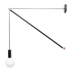 Pennant Light, 5ft - Adaptable wall scone with a customizable silhouette. Create pennant shapes with dramatic drops by varying the space between the wall mount and canopy. In the level position the light functions as a swinging sconce. Available in different arm lengths. Perfect for creating huge triangulations in tall spaces to bold bedside lighting.