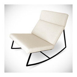 Gus Modern - GT Chair - The perfect modern rocking chair. Sleek and simple with a steel base and cushions inspired by retro car interiors. Note: Any orders to Canada will not be processed. This product does not ship to Canada Features: -Made with FSC - certified wood.-Base material: Powder - coated steel.-Distressed: No.Dimensions: -Overall dimensions: 32'' H x 27'' W x 39'' D.