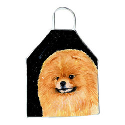 Caroline's Treasures - Starry Night Pomeranian Apron SS8481APRON - Apron, Bib Style, 27 in H x 31 in W; 100 percent  Ultra Spun Poly, White, braided nylon tie straps, sewn cloth neckband. These bib style aprons are not just for cooking - they are also great for cleaning, gardening, art projects, and other activities, too!