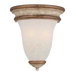 """Jessica McClintock - Contemporary Jessica McClintock Accents Provence 12 1/2"""" High Wall Sconce - This half wall sconce is part of the Jessica McClintock Accents Provence collection. It features hand painted lighting rich in historical details and perfectly detailed wood grained details that are complemented by Provence Patina glass. It exudes the style and romance of the French Countryside reinterpreted by Jessica McClintock. From the Minka Lavery lighting collection.  Hand painted details. Provence Patina glass. Takes two 60 watt candelabra bulbs (not included). 10 1/4"""" wide. 12 1/2"""" high. Extends 6"""" from the wall.  Hand painted details.   Provence Patina glass.   Takes two 60 watt candelabra bulbs (not included).   10 1/4"""" wide.   12 1/2"""" high.   Extends 6"""" from the wall."""