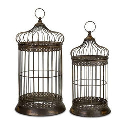 Byzantine Dome Bird Cages - Set of 2 - Antique Gold Byzantine Dome Bird Cages with hinged doors, set of two