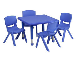 "Flash Furniture - 24"" Adjustable Blue Plastic Activity Table Set with 4 School Stack Chairs - This table set is excellent for early childhood development. Primary colors make learning and play time exciting when several colors are arranged in the classroom. The durable table features a plastic top with steel welding underneath along with height adjustable legs. The chair has been properly designed to fit young children to develop proper sitting habits that will last a lifetime."