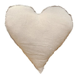 Kathy Kuo Home - Linen Frayed Edge Rustic Heart Shaped Down Pillow - At nearly 23 inches across, this happy heart is a big way to show your love for yourself, your significant other, your home, or your love of love. It's made of pearl-colored linen and features rustic frayed edges, and will warm your own heart each time you squeeze it.