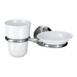 S Fager/E Strandmark - MOGDEN Soap dish and toothbrush cup/holder - Soap dish and toothbrush cup/holder, white, stainless steel