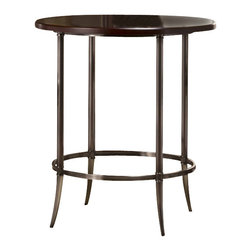 Hillsdale - Hillsdale Maddox Bar Height Bistro Table in Espresso and Nickel - Hillsdale - Pub Tables - 5174840 - Vintage execution meets modern design in the Maddox. This chic round gathering height table is ideal for cocktails or easy dining. The Maddox has a lot of sheen with a antique nickel base and a solid wood espresso-hued tabletop.