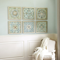 Ballard Designs - Set of 6 Vintage Cloisonne Framed Prints - A grouping of similar prints always makes much more of a statement than one lone piece on a big wall. This grouping adds lots of visual appeal while still keeping the palette calm and soothing.