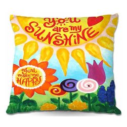 DiaNoche Designs - Pillow Woven Poplin - You Are My Sunshine Floral - Toss this decorative pillow on any bed, sofa or chair, and add personality to your chic and stylish decor. Lay your head against your new art and relax! Made of woven Poly-Poplin.  Includes a cushy supportive pillow insert, zipped inside. Dye Sublimation printing adheres the ink to the material for long life and durability. Double Sided Print, Machine Washable, Product may vary slightly from image.
