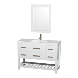 """Wyndham Collection - 48"""" Natalie Single Bathroom Vanity w/ White Porcelain Countertop & 24"""" Mirror - Classic yet elegantly modern, the Natalie bathroom vanity is a bold statement and a meaningful centerpiece for any bathroom. Inspired by the contemporary American design ethic and crafted without compromise, these vanities are designed to complement any decor, from traditional to minimalist modern."""