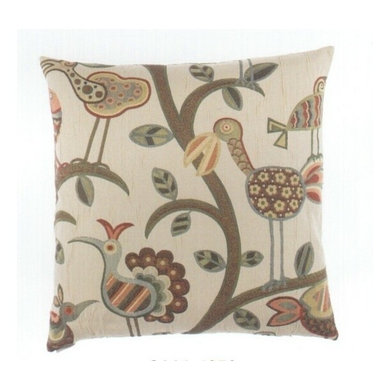 """Canaan - 24"""" x 24"""" Crazy Bird Design Pattern Throw Pillow - 24"""" x 24"""" Crazy bird design pattern throw pillow with a feather/down insert and zippered removable cover. These pillows feature a zippered removable 24"""" x 24"""" cover with a feather/down insert. Measures 24"""" x 24"""". These are custom made in the U.S.A and take 4-6 weeks lead time for production."""