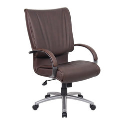 BossChair - Boss High Back Bomber Brown Leather Plus Chair with Chrome Base - Executive leather chair. Upholstered with Bomber Brown Leather Plus. Leather Plus is leather that is polyurethane infused for added softness and durability. Dacron filled top cushions. Adjustable tilt-tension control. Pneumatic gas lift seat height adjustment. Large 27 nylon base for greater stability. Hooded double wheel casters.
