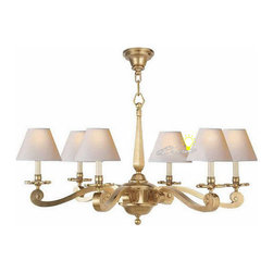 Anrtique Harbor House Copper and Fabric Shades Chandelier - Anrtique Harbor House Copper and 6 Fabric Shades Chandelier