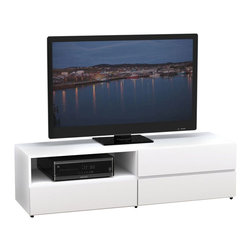 Nexera - Nexera BLVD 60-Inch TV Stand - BLVD 60-inches TV Stand features 1 open section and 1 closed section with drop-down door at the top, ideal to store your electronic components, and 2 large drawers on full extension ball bearing slides at the bottom, perfect to store and organize all your DVDs, accessories and more. Pair BLVD TV Stand with matching storage units to add storage and style to your set. BLVD Collection from Nexera proposes modular and flexible combinations for your entertainment room, home office area and bedroom. On top of all its smart features, the whole collection also features quality melamine and textured lacquer surfaces, solid metal or full extension slides and adjustable levelers.