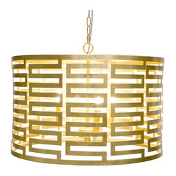"""Worlds Away - Worlds Away Nova Gold Leaf Greek Key Pendant - The modern Worlds Away Nova pendant exudes geometric allure. Shining in glamorous gold leaf, the round light fixture captivates with a compelling Greek key design. 24"""" Dia x 15""""H; Gold leaf; Three light pendant; Accepts three 40W chandelier bulbs (not included); Includes chain and canopy"""