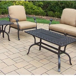 Oakland Living - 5-Pc Traditional Chat Set - Includes one side table, coffee table, two cushioned chairs and one cushioned sofa. Metal hardware. Fade, chip and crack resistant. Warranty: One year limited. Made from rust free aluminum. Antique bronze hardened powder coat finish. Minimal assembly required. Chair: 29.7 in. W x 29.7 in. D x 36.4 in. H (20.7 lbs.). Coffee table: 42 in. W x 21 in. D x 21.5 in. H (29 lbs.). End table: 21 in. W x 21 in. D x 21.5 in. H (18 lbs.). Sofa: 71 in. L x 31 in. W x 36 in. H. Overall weight: 200 lbs.This Deep Sitting 5 pc. Chat set is the perfect piece for any outdoor dinner setting. Just the right size for any backyard or patio. The Oakland Hampton Collection combines practical designs and modern style giving you a rich addition to any outdoor setting. The artistic pattern work is crisp and stylish. Each piece is hand cast and finished for the highest quality possible.