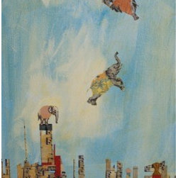 Up Up And Away (Original) by Mickey Bond - A lyrical mixed media painting in which elephants fly over an imagined city sky line.
